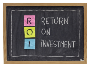 Return On Investment on Chalkboard