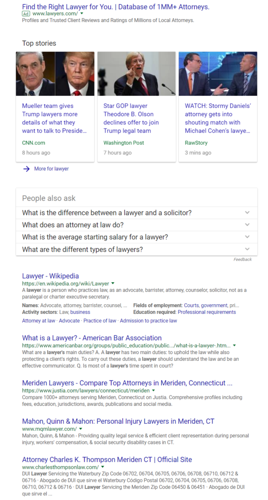 lawyer search results in Google