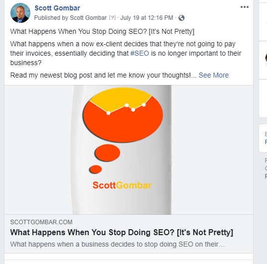 what happens when you stop doing SEO post on Facebook